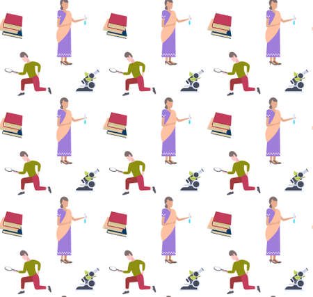 man using magnifying glass woman scientist holding microscope research experiment analyzing concept seamless pattern full length flat white background vector illustration