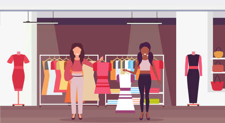 mix race saleswomen holding dresses fashion boutique big shop female clothes shopping mall interior cartoon characters full length flat horizontal vector illustration