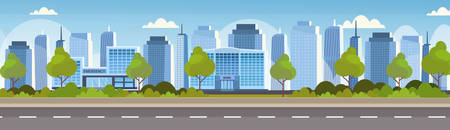 modern hospital clinic and bank building front view of financial and medical institution exterior urban city panorama skyscrapers cityscape background skyline flat horizontal banner vector illustration