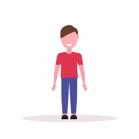 happy brown hair boy standing pose little child male cartoon character full length flat white background vector illustration