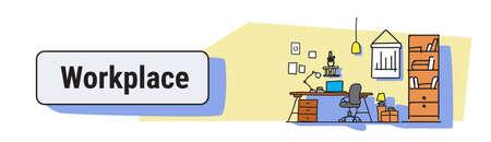 Diseño de interiores de oficina moderna concepto de escritorio de trabajo gabinete de trabajo muebles boceto doodle banner horizontal ilustración vectorial