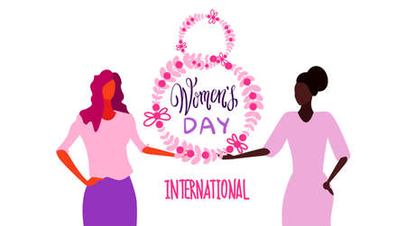 mix race women holding floral wreath international happy 8 march day holiday celebration concept female characters portrait white background horizontal greeting card sketch vector illustration