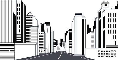 Autobahn Asphaltstraße Skyline der Stadt moderne Gebäude hohe Wolkenkratzer Stadtbild Hintergrundlinie horizontale Vektorillustration