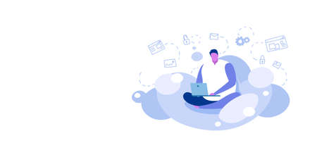 man sitting lotus pose using laptop guy downloading content from cloud server online data synchronization computing technology network concept sketch full length horizontal vector illustration