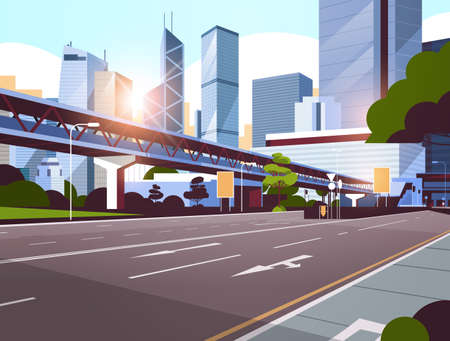 highway road to city skyline with modern skyscrapers and subway cityscape sunrise background flat horizontal vector illustration