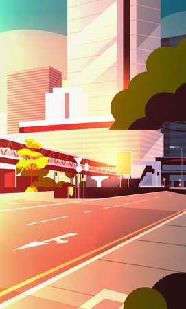 city road street skyline with modern skyscrapers and subway cityscape sunset background flat vertical vector illustration