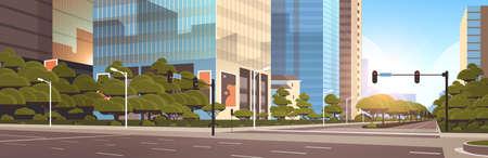 beautifil city street asphalt road with traffic light high skyscrapers modern cityscape background flat horizontal closeup vector illustration Stock Illustratie