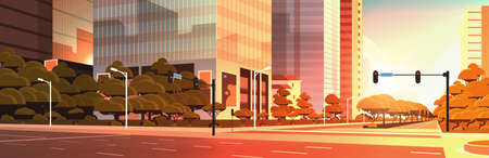 beautifil city street asphalt road with traffic light high skyscraper modern cityscape sunset background flat horizontal closeup vector illustration