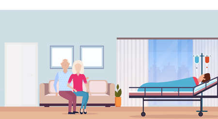 couple man woman visiting patient man lying bed intensive therapy ward hospital room interior modern medical clinic horizontal vector illustration