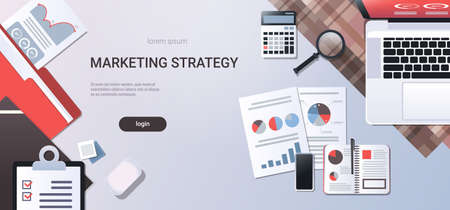marketing strategy concept workplace desk top angle view laptop with paper documents report finance graph office stuff flat copy space horizontal vector illustration Standard-Bild - 128793748