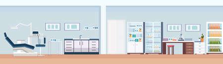 Silla y herramientas de dentista profesional sala dental laboratorio científico gabinete clínica moderna interior plano horizontal banner ilustración vectorial