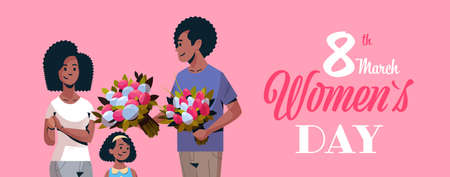 man giving bouquet of flowers to wife and daughter international womens day 8 march concept african american family celebrating holiday portrait greeting card vector illustration