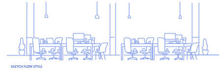 creative office workplace co-working center university campus modern workspace empty no people sketch flow style horizontal vector illustration
