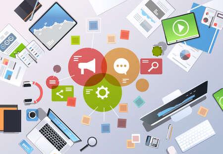 social media digital marketing concept top angle view workplace desktop office stuff horizontal vector illustration