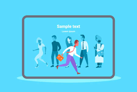 businessman leader running to work out from mix race people business man individuality leadership concept full length flat horizontal copy space vector illustration