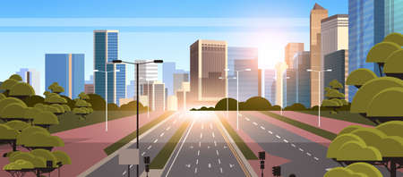 highway asphalt road with marking arrows traffic signs city skyline modern skyscrapers cityscape sunshine background flat horizontal vector illustration Иллюстрация