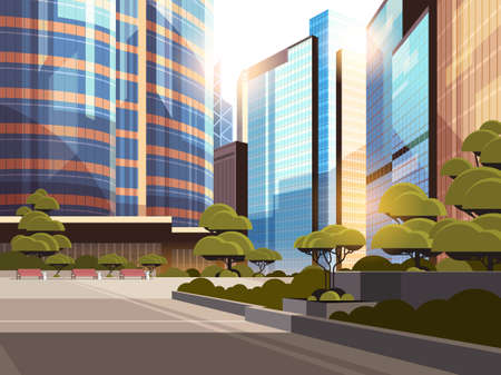 beautifil city street sunset skyline high skyscrapers modern cityscape background flat horizontal closeup vector illustration