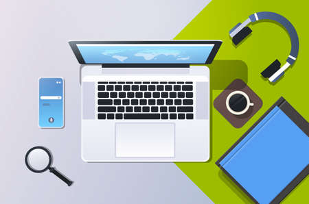 mobile computer app online top angle view workplace desktop with laptop smartphone screen office stuff horizontal vector illustration