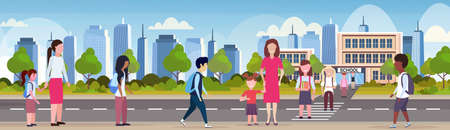 parents with children crossing crosswalk pupils walking in front of school building primary schoolchildren back to school concept cityscape background flat full length horizontal vector illustration Archivio Fotografico - 129012416