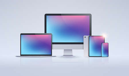 electronic devices mockup set laptop monitor tablet and smartphone with colorful screen digital technology concept gray background horizontal vector illustration Banque d'images - 129397207