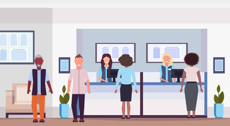 mix race people at teller counter visitors and workers in financial consulting center with waiting room modern bank office interior horizontal flat vector illustration