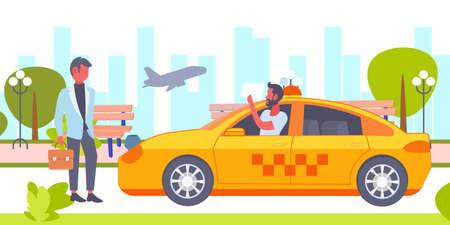 taxi driver with placard meeting businessman client in airport yellow car cab business company service concept cityscape background horizontal vector illustration
