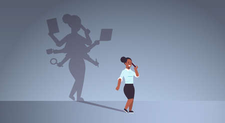 african american businesswoman talking on phone shadow of busy business woman with many hands multitasking overworked concept female cartoon character standing pose full length flat horizontal vector illustration Çizim