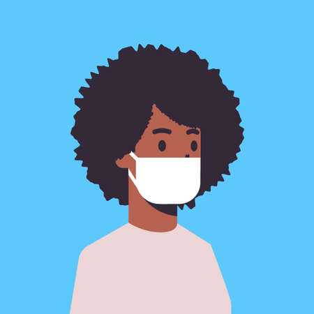 man wearing face mask environmental industrial smog dust toxic air pollution and virus protection concept african american male cartoon character portrait flat vector illustration