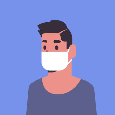 man wearing face mask environmental industrial smog dust toxic air pollution and virus protection concept male cartoon character portrait flat vector illustration Banque d'images - 129114480