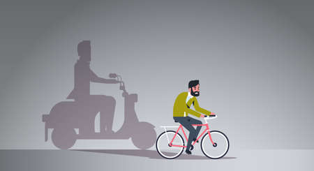 casual guy riding bike shadow of man on motor scooter imagination aspiration concept male cartoon character full length flat horizontal vector illustration