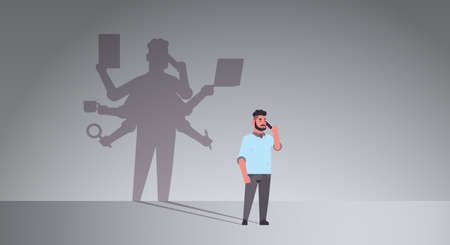 busy businessman talking on phone shadow of business man with many hands multitasking overworked concept male cartoon character standing pose full length flat horizontal vector illustration