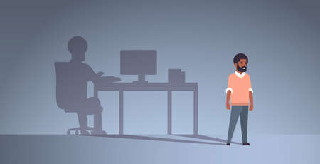 african american guy dreaming about being freelancer shadow of man working on computer at workplace imagination aspiration concept male cartoon character full length flat horizontal vector illustratio