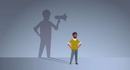 african american guy dreaming about being manager or boss screaming in megaphone shadow of business man with loudspeaker imagination aspiration concept full length flat horizontal vector illustration