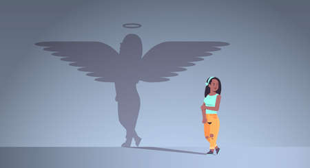 cute african american, girl with shadow of angel imagination aspiration concept female cartoon character standing pose full length flat horizontal vector illustration
