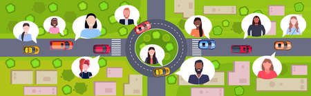birds eye aerial view of modern city buildings streets and cars on road users profile avatars chat bubble communication concept urban map cityscape top angle view flat horizontal vector illustration