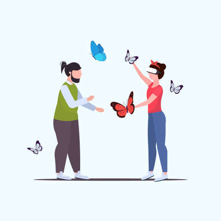 man looking at woman wearing digital glasses girl touching vr flying butterfly headset vision virtual reality technology concept flat full length vector illustration