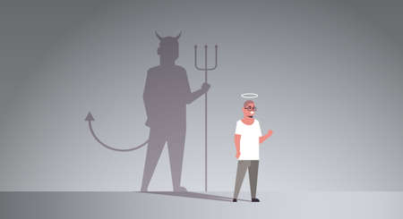 casual guy with nimbus choosing between good and evil shadow of devil imagination aspiration concept male cartoon character standing pose full length flat horizontal vector illustration