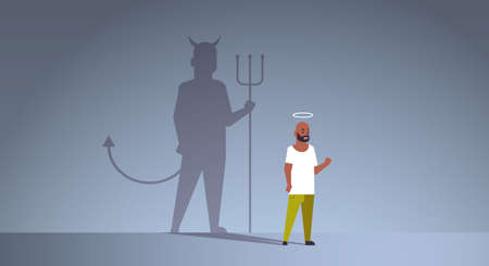 african american guy with nimbus choosing between good and evil shadow of devil imagination aspiration concept male cartoon character standing pose full length flat horizontal vector illustration