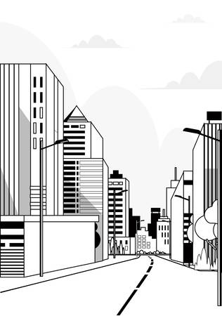 highway asphalt road city skyline modern buildings high skyscrapers cityscape background line vertical vector illustration