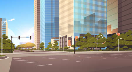 beautifil city street asphalt road with traffic light high skyscrapers modern cityscape background flat horizontal closeup vector illustration Ilustração