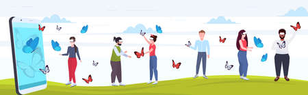 people wearing digital glasses mix race people touching vr flying butterfly from smartphone screen headset vision virtual reality technology concept flat full length horizontal vector illustration Stockfoto - 129397336