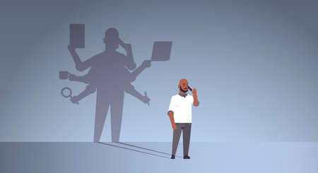 african american businessman talking on phone shadow of busy business man with many hands multitasking overworked concept male cartoon character standing pose full length flat horizontal vector illustration Stockfoto - 129114795
