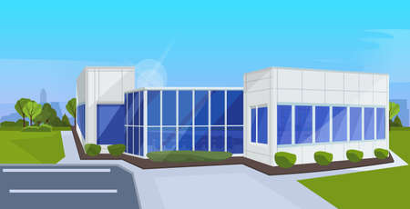 modern corporate architecture office building exterior with large panoramic windows commercial business center design landscape background flat horizontal vector illustration Stock Illustratie
