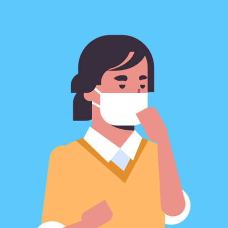 man wearing face mask environmental industrial smog dust toxic air pollution and virus protection concept male cartoon character portrait flat vector illustration Çizim