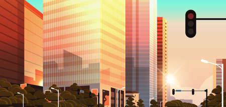 beautifil city street with traffic light skyline high skyscrapers modern cityscape sunset background flat horizontal closeup vector illustration