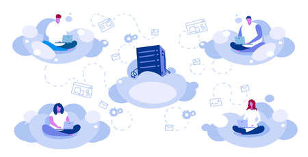 people sitting lotus pose using laptop users downloading content from data center cloud hosting server online synchronization computing technology network concept sketch full length horizontal vector illustration Иллюстрация