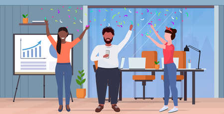 business people raising arms colleagues having party confetti mix race coworkers celebrating event concept modern office interior flat full length horizontal vector illustration Illustration