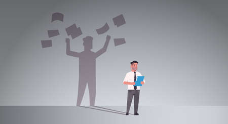 busy businessman holding folder shadow of business man throwing paper documents overvorked aspiration imagination concept male cartoon character standing pose full length flat horizontal vector illustration