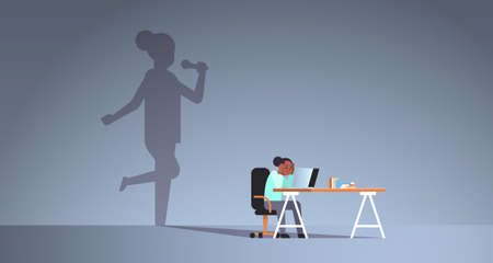 african american woman sitting at workplace using laptop shadow of singer holding microphone and singing imagination aspiration concept female cartoon character flat horizontal full length vector illustration Banque d'images - 129114808