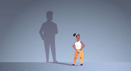 african american girl dreaming about boyfriend shadow of man imagination aspiration concept female cartoon character standing pose full length flat horizontal vector illustration
